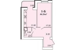 ЖК Парковий: планування 1-кімнатної квартири 46.26 м²