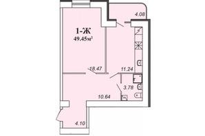ЖК Парковий: планування 1-кімнатної квартири 49.45 м²