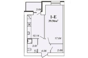 ЖК Парковий: планування 1-кімнатної квартири 40 м²