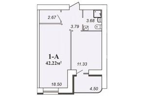 ЖК Парковый: планировка 1-комнатной квартиры 42.22 м²