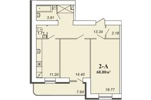 ЖК Парковый: планировка 2-комнатной квартиры 68.8 м²