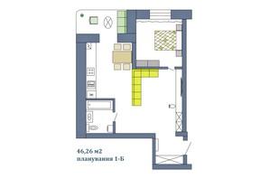 ЖК Парковый: планировка 1-комнатной квартиры 46.26 м²