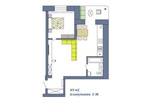 ЖК Парковый: планировка 1-комнатной квартиры 49.45 м²