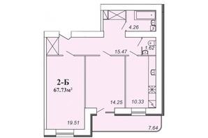 ЖК Парковый: планировка 2-комнатной квартиры 67.73 м²