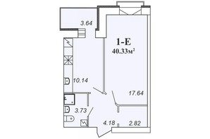 ЖК Парковый: планировка 1-комнатной квартиры 40.33 м²