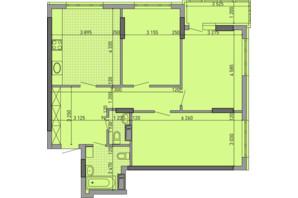ЖК Парковый Город: планировка 3-комнатной квартиры 92.01 м²