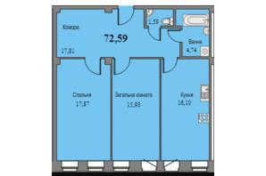 ЖК Парковый: планировка 2-комнатной квартиры 72.59 м²