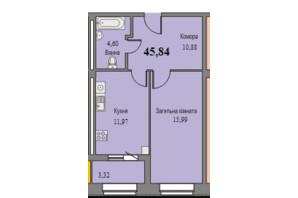 ЖК Парковый: планировка 1-комнатной квартиры 45.84 м²