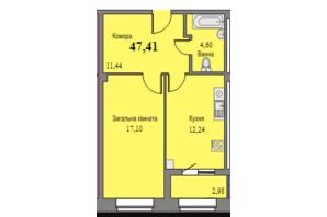 ЖК Парковый: планировка 1-комнатной квартиры 47.41 м²