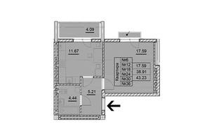 ЖК Парковый: планировка 1-комнатной квартиры 43.23 м²