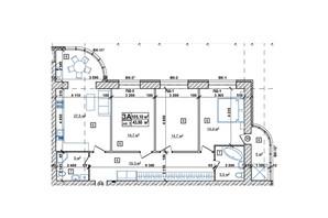 ЖК Парковий: планування 2-кімнатної квартири 108.6 м²