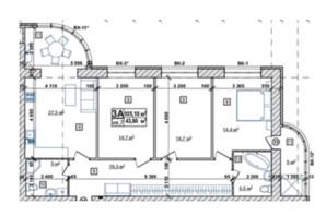 ЖК Парковий: планування 3-кімнатної квартири 110.8 м²