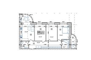 ЖК Парковый: планировка 2-комнатной квартиры 106.6 м²
