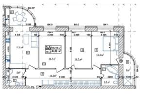 ЖК Парковый: планировка 3-комнатной квартиры 106.3 м²