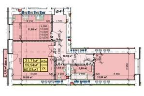 ЖК Парковый: планировка 2-комнатной квартиры 60.03 м²