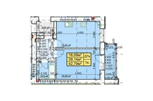 ЖК Парковый: планировка 1-комнатной квартиры 42.79 м²