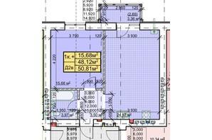 ЖК Парковый: планировка 1-комнатной квартиры 50.81 м²