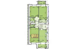 ЖК Парковый: планировка 3-комнатной квартиры 89.85 м²