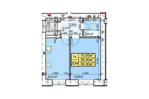 ЖК Парковый: планировка 1-комнатной квартиры 36.9 м²