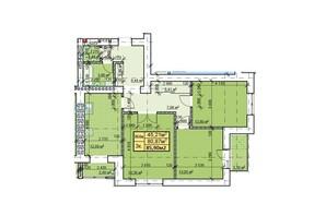 ЖК Парковый: планировка 3-комнатной квартиры 85.9 м²