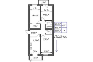 ЖК Парковый: планировка 3-комнатной квартиры 91 м²