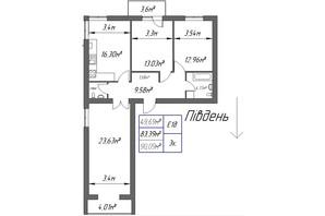 ЖК Парковый: планировка 3-комнатной квартиры 90.09 м²