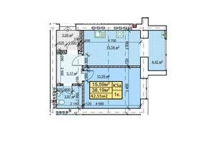 ЖК Парковый: планировка 1-комнатной квартиры 42.55 м²