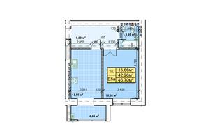 ЖК Парковый: планировка 1-комнатной квартиры 46.7 м²