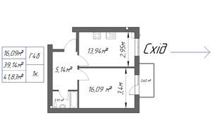 ЖК Парковый: планировка 1-комнатной квартиры 41.83 м²