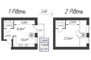 ЖК Парковый: планировка 1-комнатной квартиры 69.31 м²