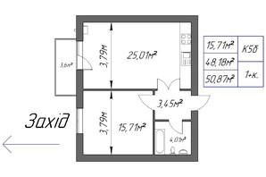 ЖК Парковый: планировка 1-комнатной квартиры 50.87 м²