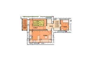 ЖК Парковый: планировка 1-комнатной квартиры 45.63 м²