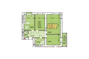 ЖК Парковый: планировка 3-комнатной квартиры 79.74 м²