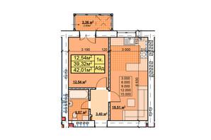 ЖК Парковый: планировка 1-комнатной квартиры 42.01 м²