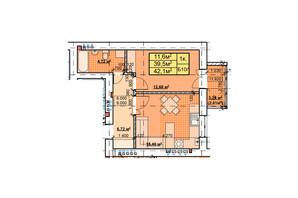ЖК Парковый: планировка 1-комнатной квартиры 42.1 м²