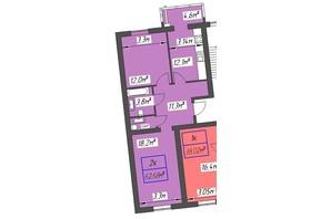 ЖК Парковый: планировка 2-комнатной квартиры 62.68 м²