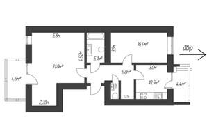 ЖК Парковый: планировка 2-комнатной квартиры 81.6 м²