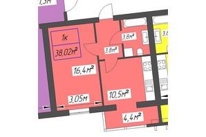 ЖК Парковый: планировка 1-комнатной квартиры 38.02 м²