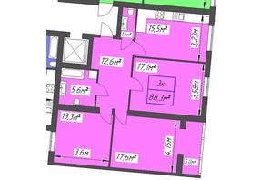 ЖК Парковый: планировка 3-комнатной квартиры 88.3 м²