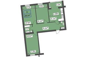 ЖК Парковый: планировка 3-комнатной квартиры 88 м²