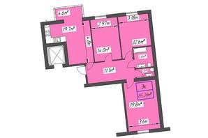 ЖК Парковый: планировка 3-комнатной квартиры 86.38 м²