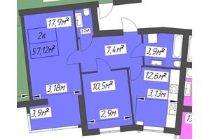ЖК Парковый: планировка 2-комнатной квартиры 57.12 м²