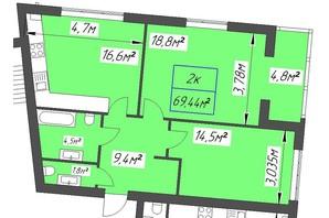 ЖК Парковый: планировка 2-комнатной квартиры 69.44 м²