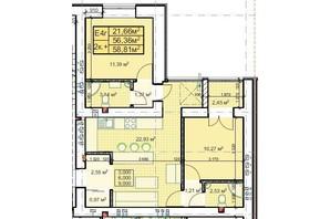 ЖК Парковый: планировка 2-комнатной квартиры 58.81 м²