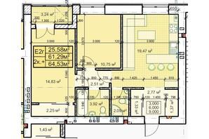 ЖК Парковый: планировка 2-комнатной квартиры 64.53 м²