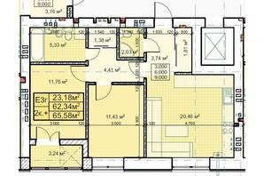 ЖК Парковый: планировка 2-комнатной квартиры 65.58 м²