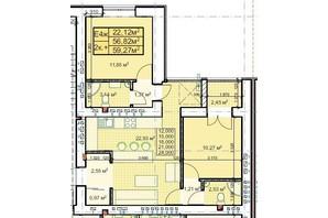 ЖК Парковый: планировка 2-комнатной квартиры 59.27 м²
