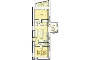 ЖК Парковый: планировка 2-комнатной квартиры 66.06 м²