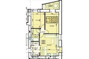 ЖК Парковый: планировка 2-комнатной квартиры 63.62 м²