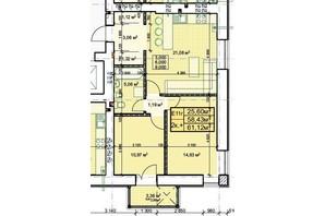 ЖК Парковый: планировка 2-комнатной квартиры 61.12 м²